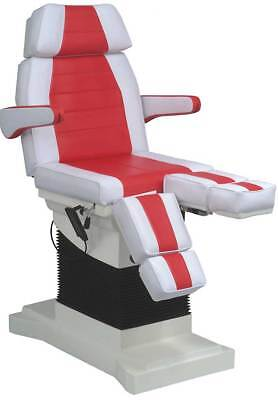 Fußpflegestuhl Kosmetikstuhl Fußpflegeliege elektrisch Pedikürstuhl 1444weiß/rot