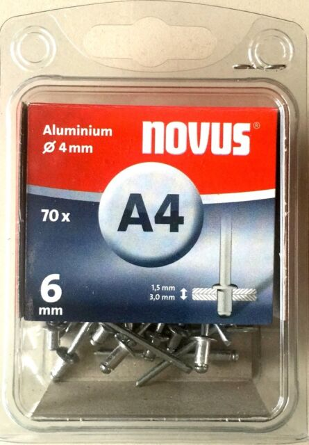 Novus Blindniete 'A4' L: 6 mm Ø 4 mm Aluminium 70 Stück 045-0031