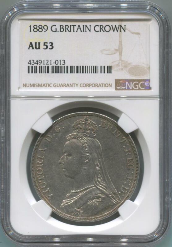 1889 Great Britain Crown. NGC AU53