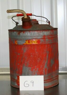 Vintage Delphos 5 Gallon Flower Top Kerosene Galvanized Gas Fuel Can Red G9