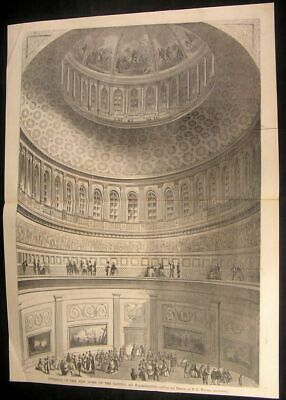 Interior New Dome Capitol Building Washington 1861 antique wood engraved -