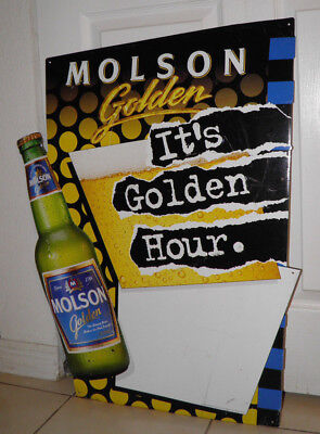 RARE 1996 MOLSON GOLDEN BEER EMBOSSED METAL DRY ERASE SIGN 1 of 2 ON EBAY - Molson Dry Beer