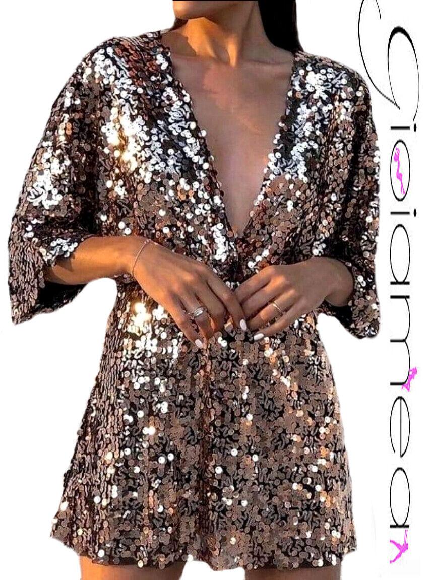 Vestito Donna Mini Abito Pailletes Pagliaccetto Lurex Elegante Feste Cerimonia