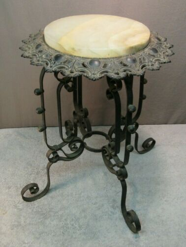 Antique Wrought Iron Table w/ Marble Top - (garden/patio/side plant stand)