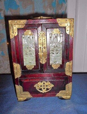 Vintage Chinese Trinket Jewellery  Box with Jade Panels