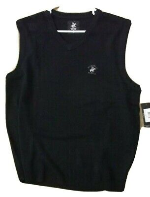 NWT BEVERLY HILLS POLO CLUB SWEATER VEST - Mens XL - Black V-Neck