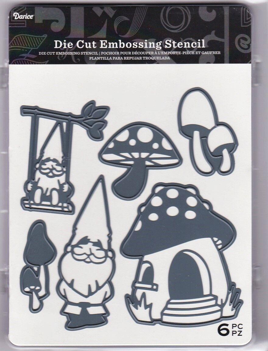 Fairy Garden Gnome Mushroom - Darice Metal Dies 4/pk Cut Emb