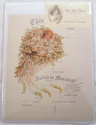 Turn Of The Century Wedding Certificate Marriage Old Print Factory #Crt016