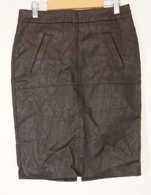 CAbi Pencil Skirt Black Size 0 Style # 509 Vegan leather