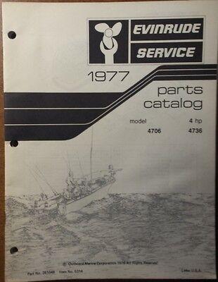 1977 EVINRUDE  OUTBOARD 4 HP  MODELS PARTS CATALOG