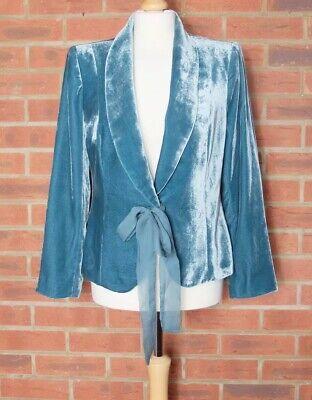 Zara Blue Velvet Jacket Blazer With Tie Bow Size Small