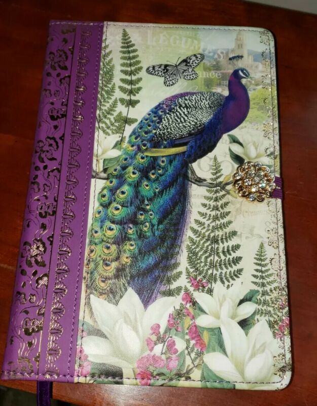 Divinity Boutique Peacock Vegan Journal W/ Crystal Closure 160 gold leaf pages