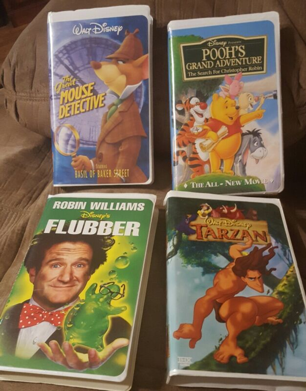 The Great Mouse Detective, Flubber, Poohs Grand Adventure, and Tarzan.