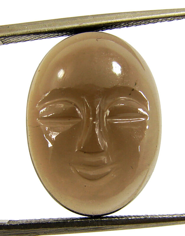 9.50 Ct Natural Smoky Quartz Gemstone Carved Moon Face Wire Wrap Jewelry - 11479