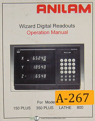 Anilam 150 Plus 350 Plus Lathe 800 Wizard 113 Page Dro Operation Manual 1996