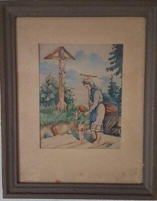 """Aquarell """"Gebet am Wegrand"""" Gemälde Kruzifix"""
