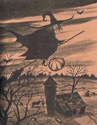 Halloween Witch Flying Broom over Farm](Over Farm Halloween)