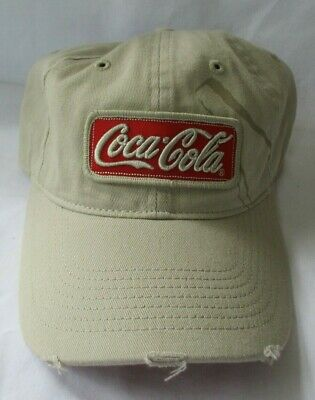 "COCA COLA ""MAKE IT REAL"" TAN DISTRESSED LOOK ADJUSTABLE CAP HAT"