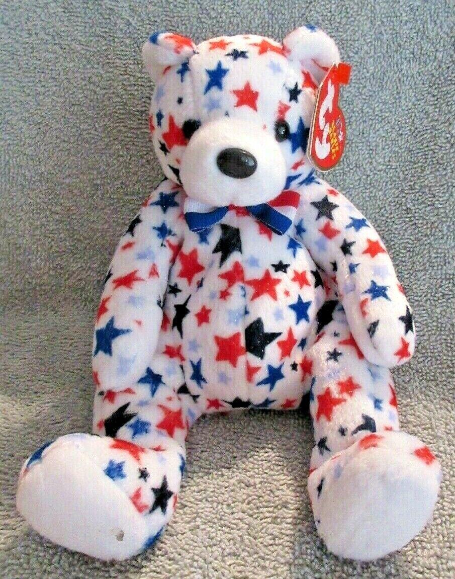 beanie baby red white blue bear dob