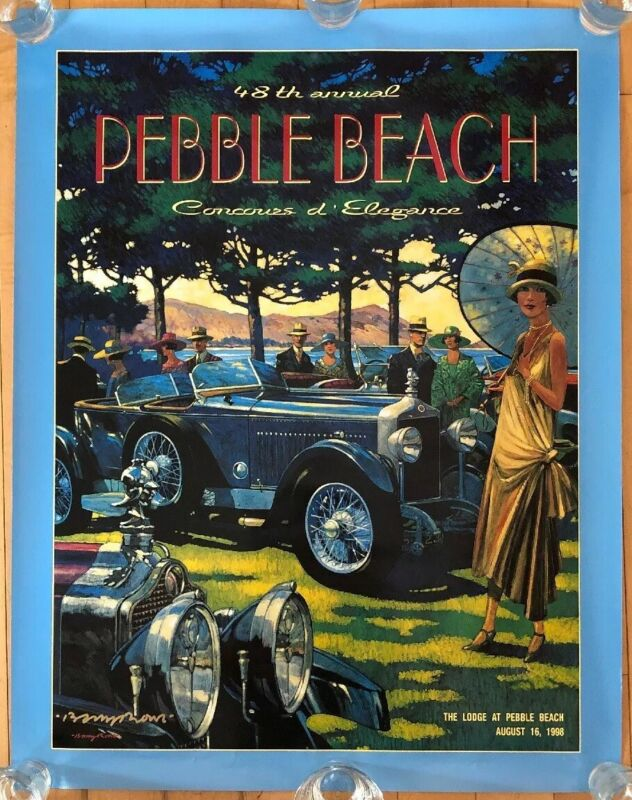 """1998 Pebble Beach Concours d'Elegance 48th Annual Poster Artist Signed 25.5""""x33"""""""