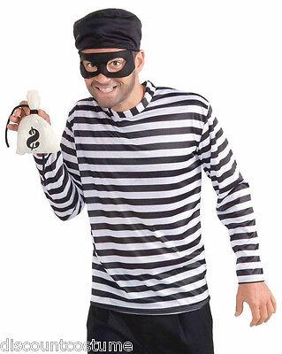 BURGLAR ADULT HALLOWEEN COSTUME STANDARD STRIPED PIRATE BURGLARY CRIME CRIMINAL (Halloween Burglar Costume)