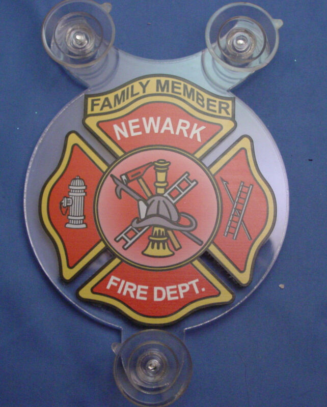 NEWARK NJ FIRE DEPARTMENT FAMILY MEMBER CAR SHIELD  - ANY DEPARTMENT CUSTOM MADE