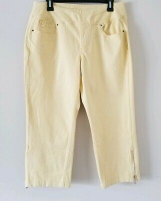 Belle by Kim Gravel Flexibelle Pull-On Cropped Jeans Petite Size 4 Yellow Q83 for sale  Owings Mills