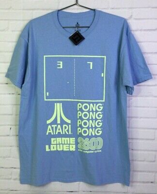 Atari 2600 Pong Game Over Mens Large Retro Gaming Blue Short Sleeve Tee T-Shirt