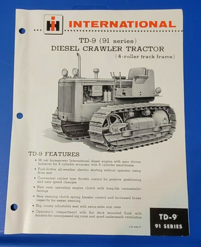 International TD-9 (91 series) Diesel Crawler Tractor 4-Roller Brochure CR-569-F