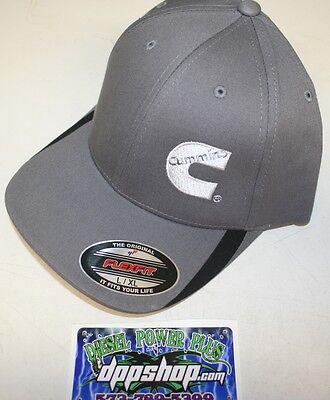 Cummins hat ball cap fitted flex fit flexfit stretch cummings gray white  lg xl 1a63ed0fbe0c