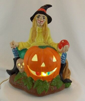 Vintage Halloween Witch Funky Scioto Hazel Light Up Ceramic Sitter Rare Mold 79 - Funky Halloween Decorations