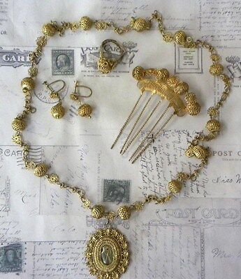 Antique Wedding Set Necklace Ring Earrings Comb Tambourin