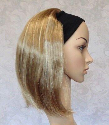 Short Straight Silky Dark Blonde Highlighted Straight Bob Headband Wig - 9297 - Headband Wigs Short