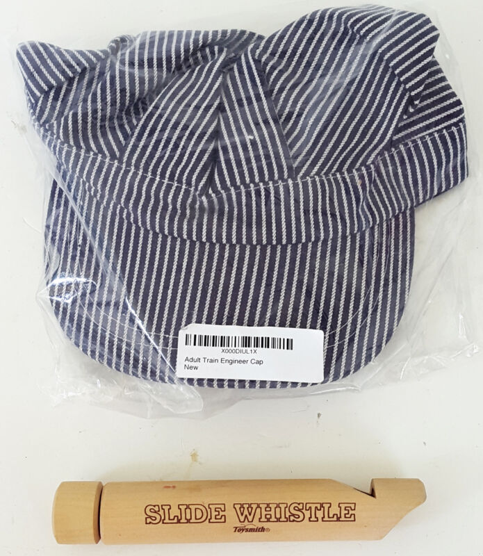 a62f5492ea435 NIP COBRA adult one size TRAIN ENGINEER CAP and TOYSMITH slide WHISTLE