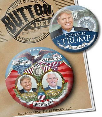 2 VICTORY Inauguration President Donald Trump BUTTONS - Inauguration Badges pins