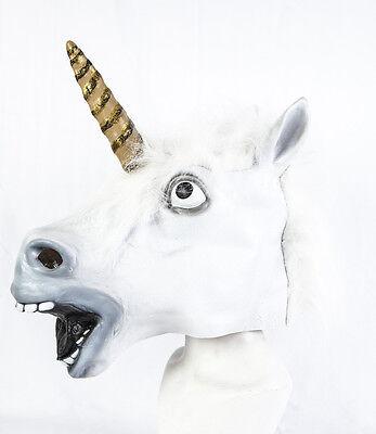 Voller Kopf Latex Weiß Einhorn Maske Kostüm Pferd Fantasie Mythologie Cosplay