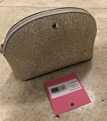 NWT Kate Spade Burgess Court Small Dome Cosmetic Glitter Makeup Bag Pouch Gold