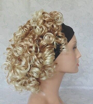 Short Thick Super Curly Brown BlondebFull Headband Wig - 2781 - Headband Wigs Short