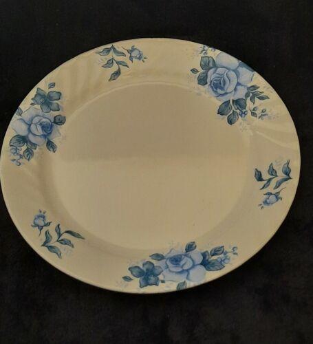 Corelle Blue Velvet White Swirl Dinner Plates Blue Roses