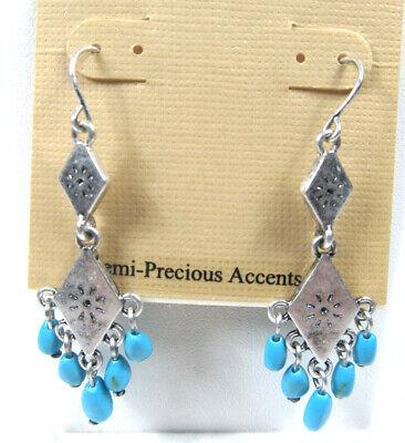 Lauren Ralph Lauren Silver-Tone Turquoise Bead Chandelier Earrings