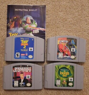 Nintendo 64 N64 Lot of 4 Games; Jeopardy, Toy Story 2, A Bug's Life, XG2