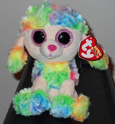 "Ty Beanie Boos ~ RAINBOW the 6"" Poodle Dog ~ Stuffed Plush Toy (NEW) 2017 Design"