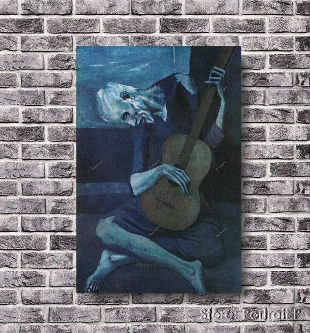 Wall art artwork giclee The Old Guitarist by Pablo PicassoCanvas Rolled