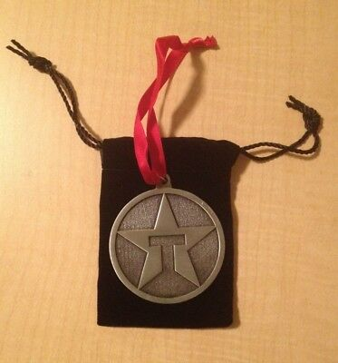 Vintage TEXACO STAR Logo Pewter Christmas Ornament Medallion - Collectible!