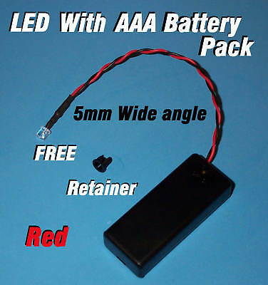 5mm LED + AAA BATTERY PACK & SWITCH RED WIDE ANGLE  (Halloween / Projects / DIY) (Halloween Diy Projects)