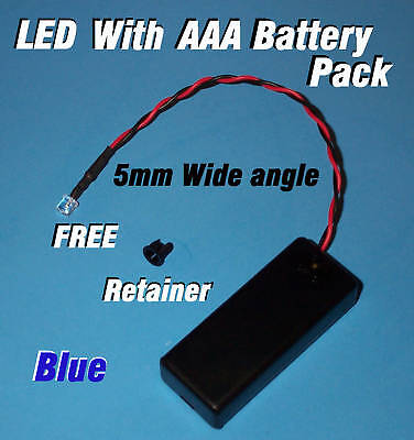 5mm LED + AAA BATTERY PACK & SWITCH BLUE WIDE ANGLE (Halloween / Projects / DIY) (Halloween Diy Projects)