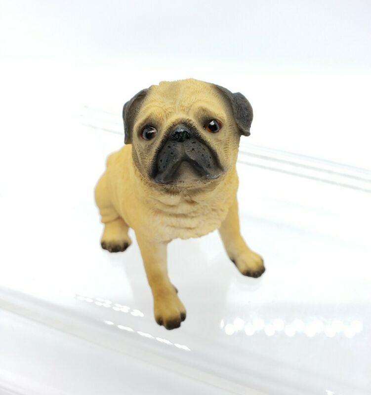 """Pug Dog Figurine Resin Miniature W.U.I 99 Cute Male Boy Detailed 2.75"""""""