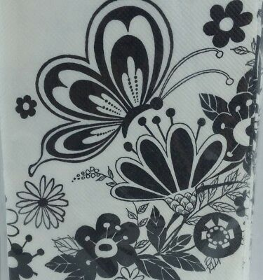 Black Paper Tablecloths (Vintage Gibson Party Crepe Paper Tablecloth Black White Floral)