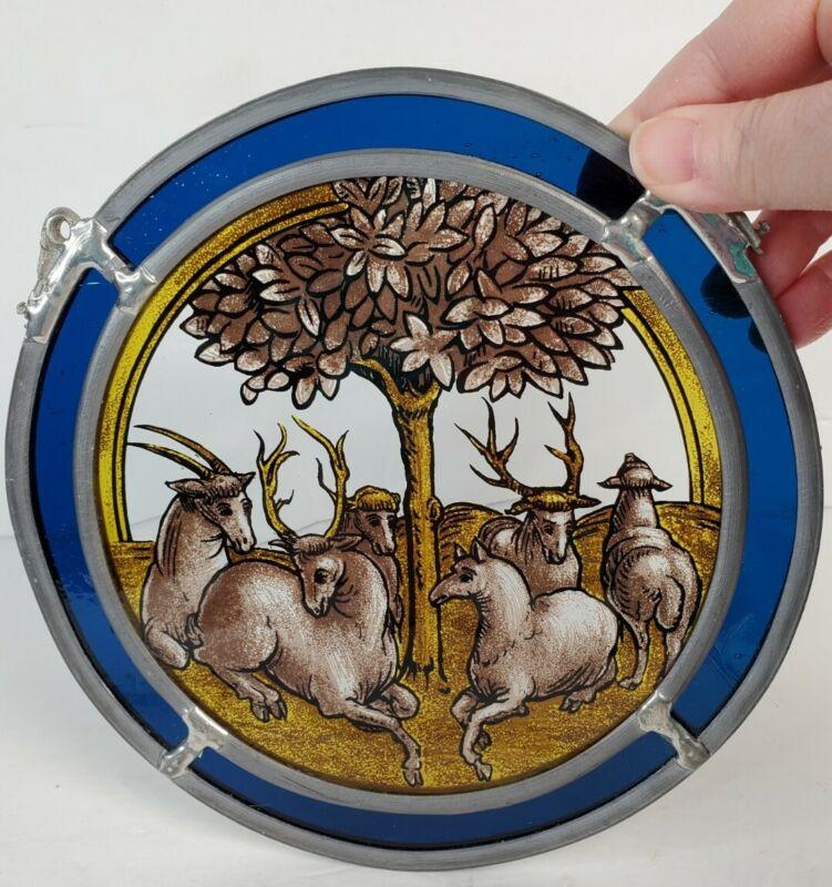 VTG Rams Tree of Life Animals Stained Glass Suncatcher Glassmasters Antelope