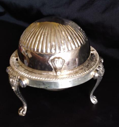 HAUNTED Vintage Silver Plate Caviar/Butter Server Domed Roll Top Lid Claw Foot